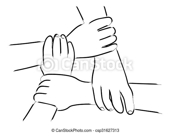 Vector Clip Art of Unity Hands - Line art of four human ...