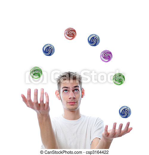 Young adult juggling balls - csp3164422