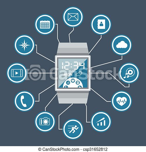 Smart Watch with Application Icons - csp31652812