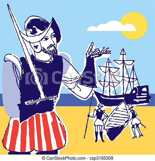 Discovery america Spanish soldier, 1492, vector illustration - csp3165309