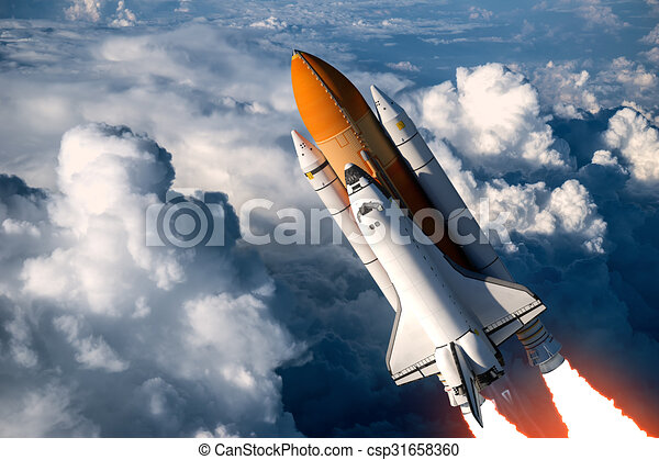 Space Shuttle Launch In The Clouds - csp31658360