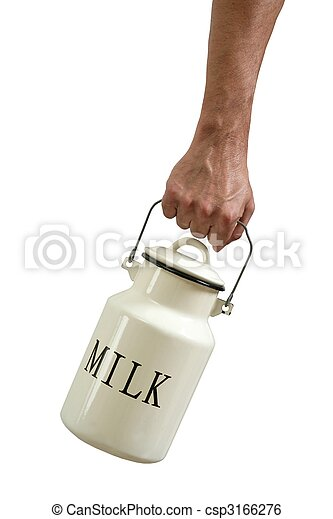Milk pot urn in farmer hands isolated on white - csp3166276