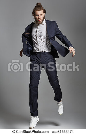 Portrait of a jumping male model