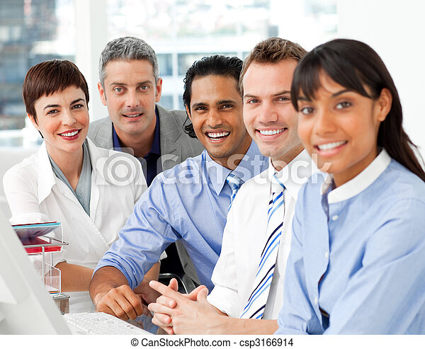 Portrait of multi-ethnic business team at work - csp3166914