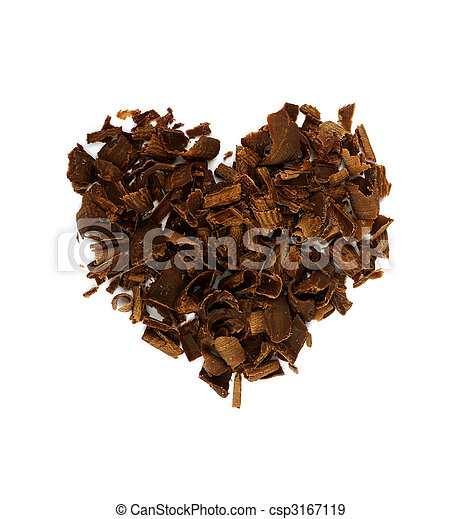 Heart shape concept, chocolate shavings. Valentine`s day theme - csp3167119