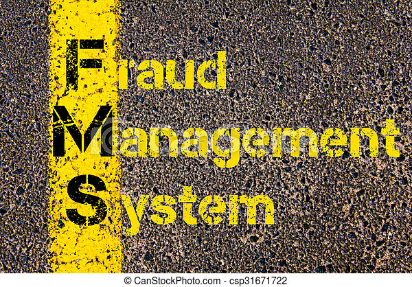 Concept image of Business Acronym FMS as Fraud Management System written over road marking yellow paint line.