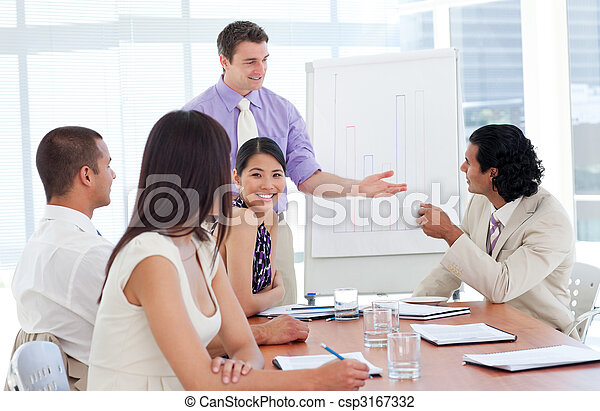 Charming businessman doing a presentation - csp3167332