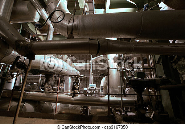 Equipment, cables and piping as found inside of a modern industrial power plant             - csp3167350