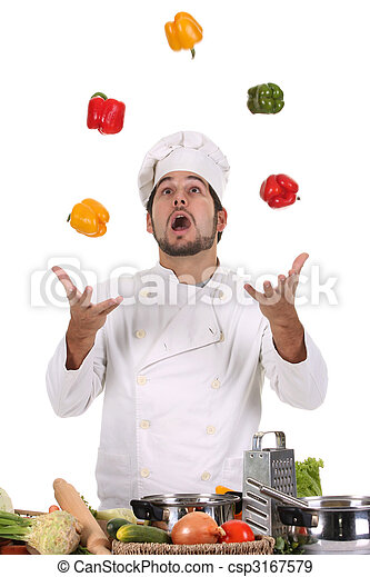 chef juggling with peppers  - csp3167579