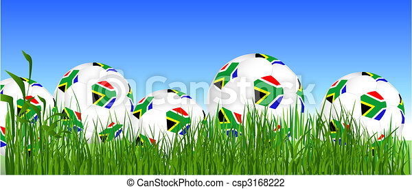 World Cup South Africa balls on the grass - csp3168222