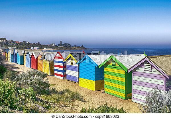 Brighton Beach Bathing Boxes - csp31683023