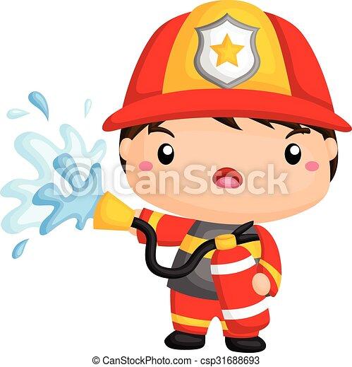 EPS Vectors of Cute Fireman csp31688693 - Search Clip Art ...