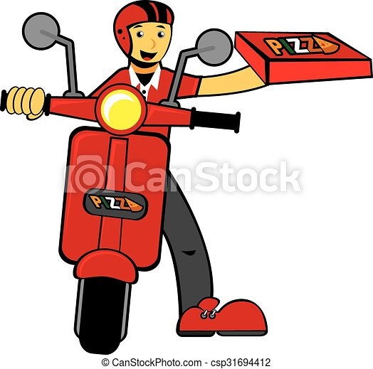 Vector Clip Art Of Illustration Of Delivery Man Bring