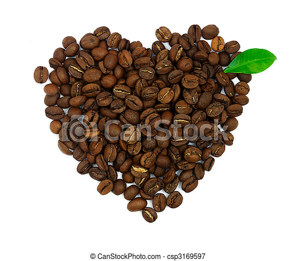 Heart symbol made of coffee beans with gren leaf isolated on white background - csp3169597