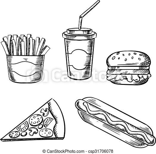 pizza burger french fries hot dog and soda csp31706078