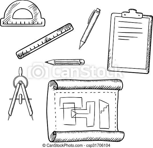 Vector Clipart Of Architect Drawing And Tools Sketches Architect Drawing Csp31706104