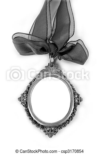 Cameo silver locket with tape loop copyspace - csp3170854