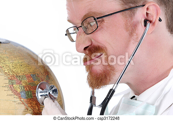 funny doctor examine a globe  - csp3172248