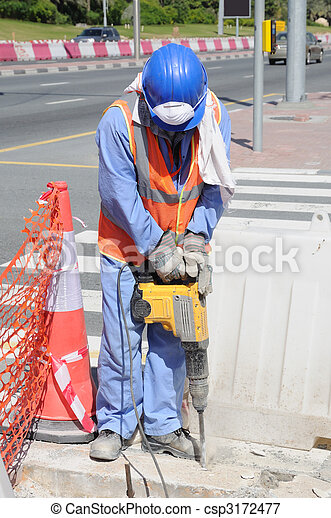 Street Worker in Dubai, United Arab Emirates - csp3172477