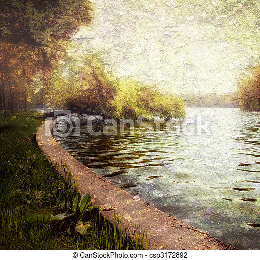 Nature serene pastel - trees and lake - csp3172892