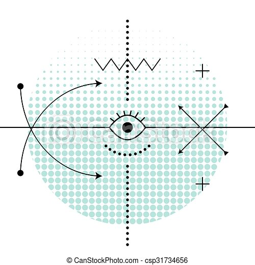 Clipart Vector of Sacred geometry abstract alchemy symbols ...