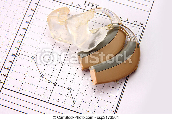 medical chart and hearing aid - csp3173504