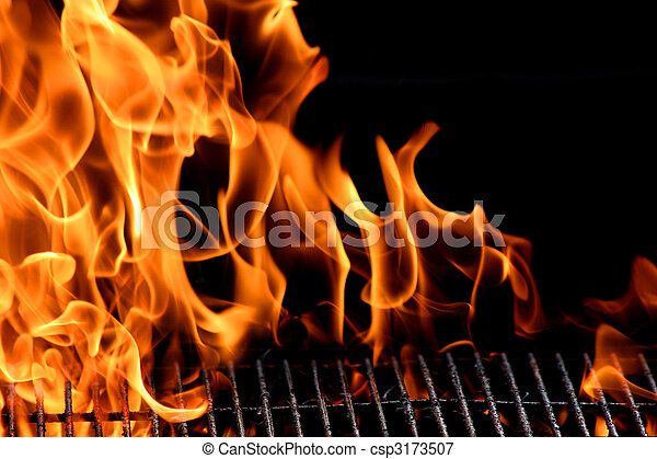bbq grill flame, hot burning grill, outdoors - csp3173507