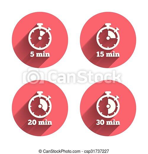 Illustration vecteur de symbole minuteur cinq ic nes chronom tre minutes csp31737227 - Minuteur 7 minutes ...