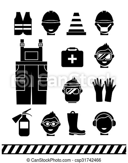 Clip Art Vector of Job safety black icons. Personal ...