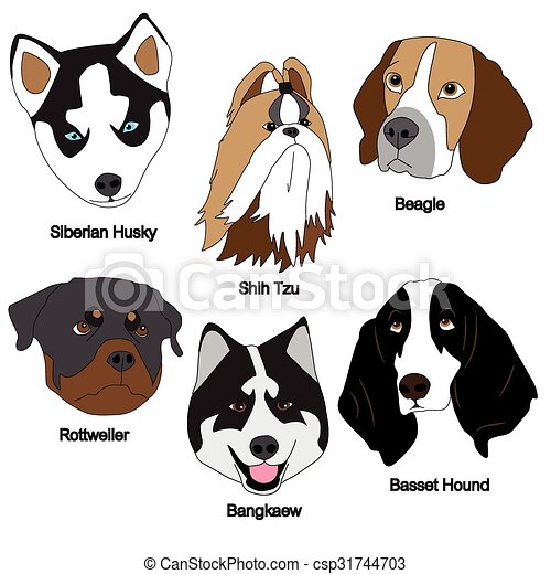 Vector Clipart of Dog Face Set : Siberian Husky, Shih Tzu, Beagle ...