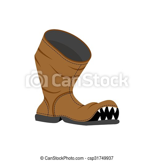 Vectors of Broken shoes. Monster Old boots with teeth. Hole in ...
