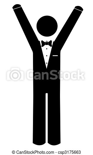Drawings of stick man dressed in tuxedo with his arms up ...