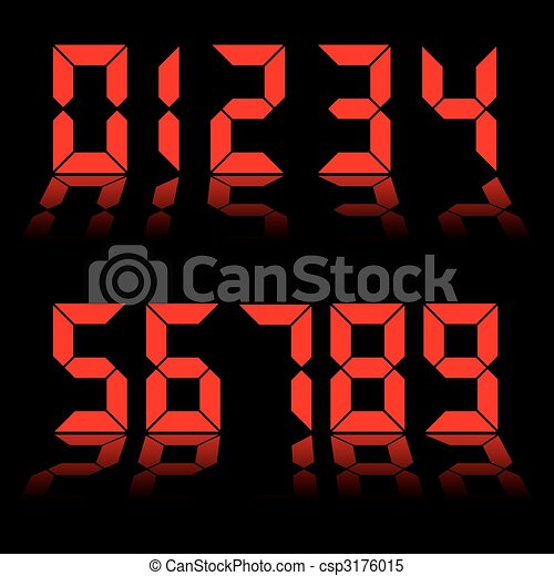 digital numbers clock red - csp3176015