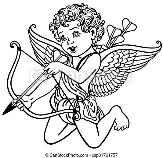 Vecteur clipart de blanc noir ange cupidon dessin for Dessin graphique noir et blanc