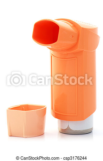 Orange asthma Inhaler and a hood - csp3176244