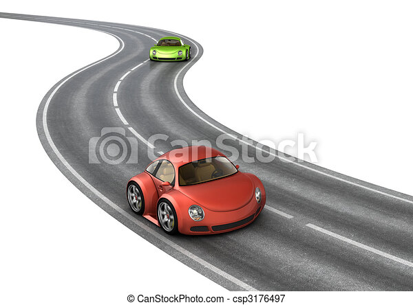 Road race green red cars - csp3176497