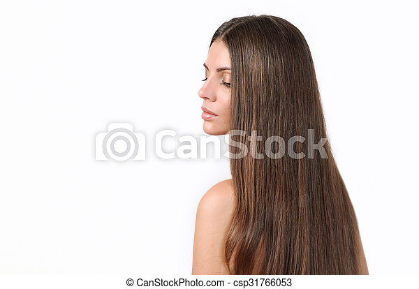 attractive beautiful woman with pure skin and bright long hair