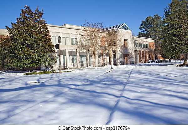 Library on a college campus in winter - csp3176794