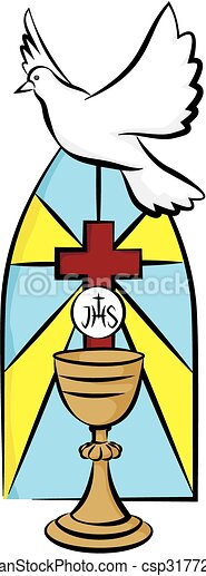 Vector of my first holy communion - chalice and holy spirit on the ...