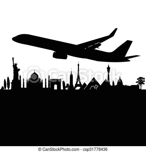 plane above the city black vector - csp31778436