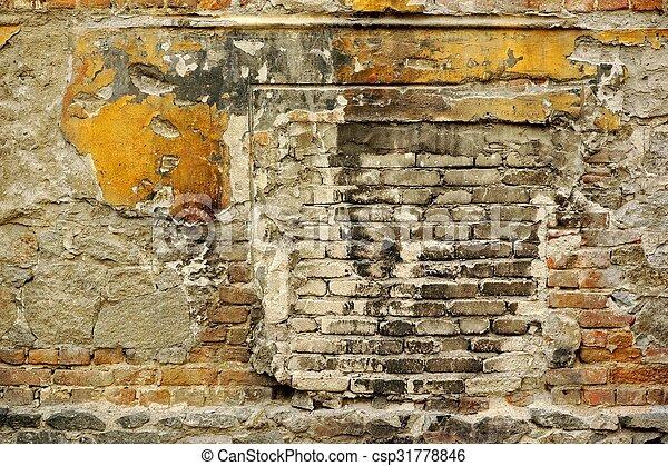 stockfoto von gebäude, beschädigt, altes , ziegelsteine, pflaster, Gartenarbeit ideen