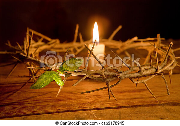 Crown of thorns and candle - csp3178945