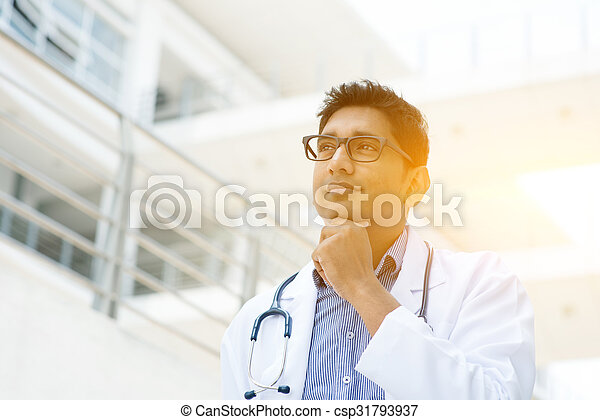 Asian Indian medical doctor thinking