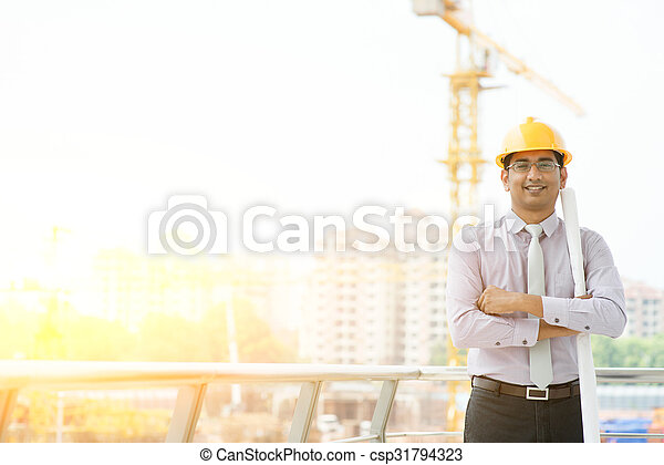Asian male site contractor engineer portrait