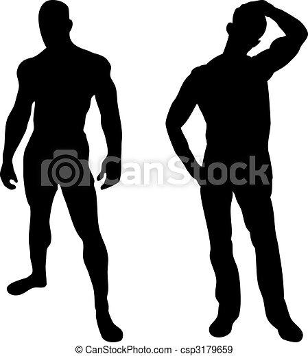 2 sexy men silhouettes on white background - csp3179659