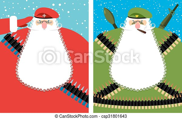 Santa Claus Christmas Defender. Military grandfather with beard and moustache in protective clothing. New year soldier in green beret. Military equipment: automatic and machine-gun belt, ammunition belt. Bold festive character is veteran of fighting. - csp31801643