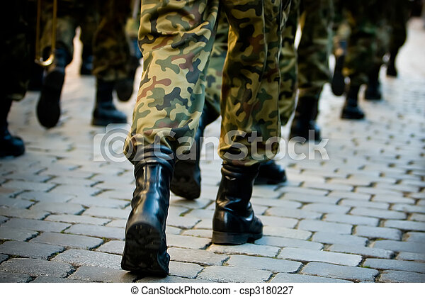 Soldiers march in formation - csp3180227