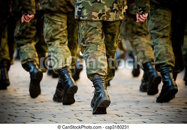 Soldiers march in formation - csp3180231