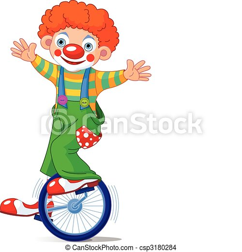 Clown on Unicycling - csp3180284