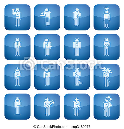 Cobalt Square 2D Icons Set: Occupation - csp3180977